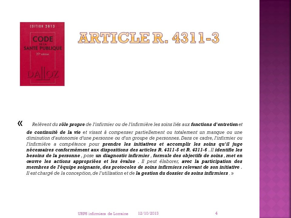 Article R. 4311-3