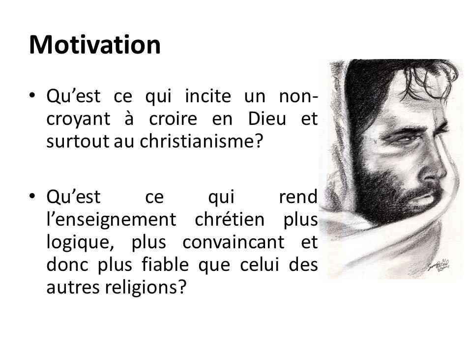 Motivation Qu'est ce qui incite un non-croyant à croire en Dieu et surtout au christianisme