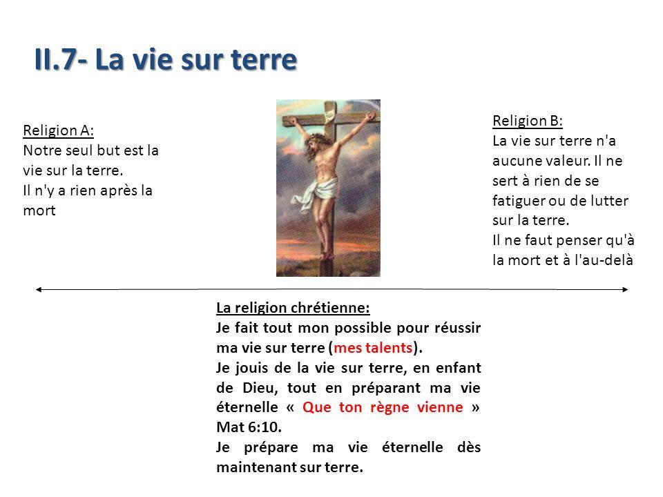 II.7- La vie sur terre Religion B: Religion A: