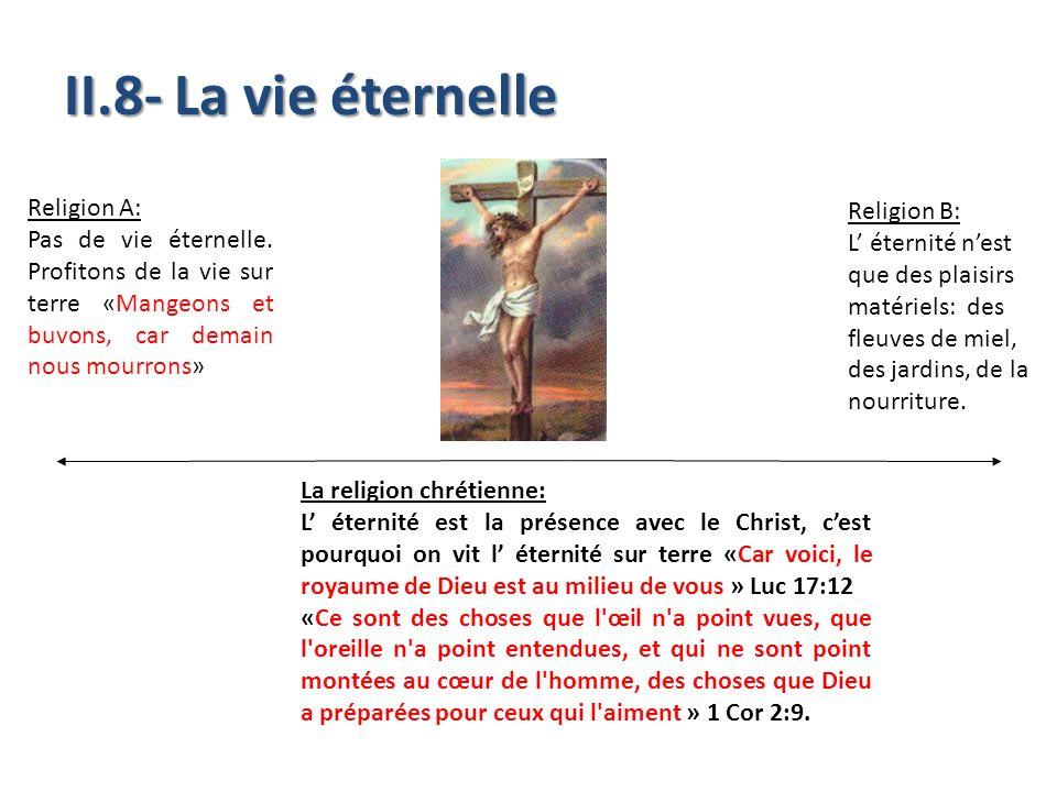 II.8- La vie éternelle Religion A: Religion B: