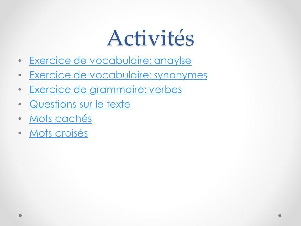 Activités Exercice de vocabulaire: anaylse