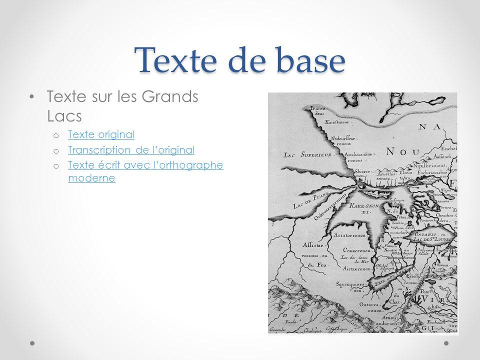 Texte de base Texte sur les Grands Lacs Texte original