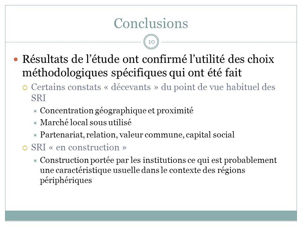 Conclusions Résultats de l'étude ont confirmé l'utilité des choix méthodologiques spécifiques qui ont été fait.