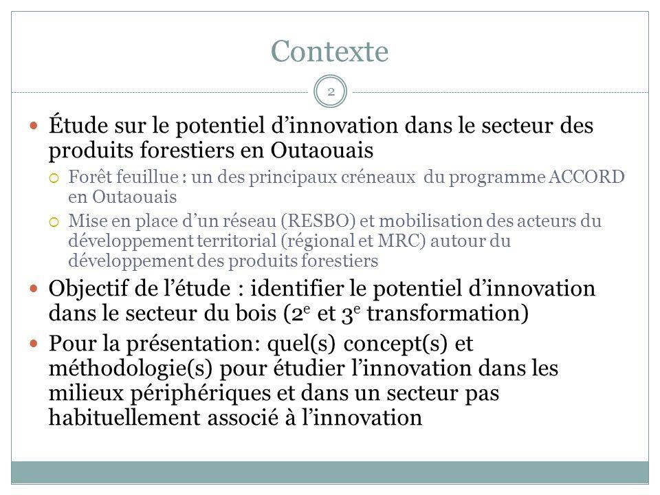 Contexte Étude sur le potentiel d'innovation dans le secteur des produits forestiers en Outaouais.