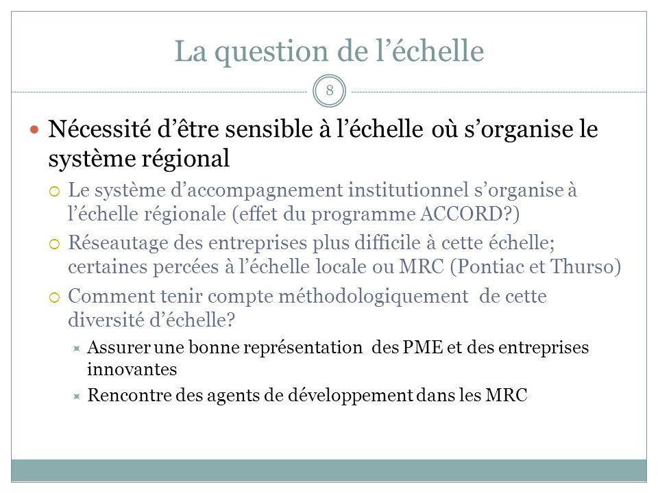 La question de l'échelle