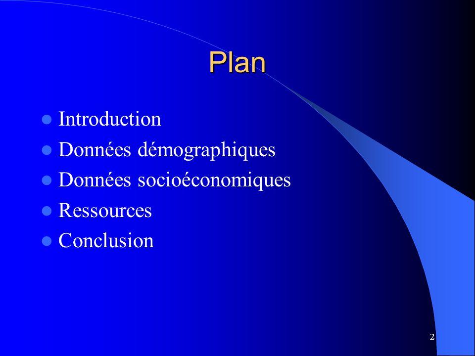 Plan Introduction Données démographiques Données socioéconomiques