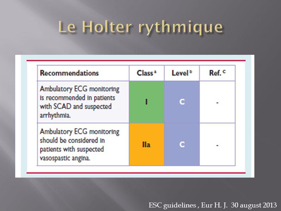 Le Holter rythmique ESC guidelines , Eur H. J. 30 august 2013