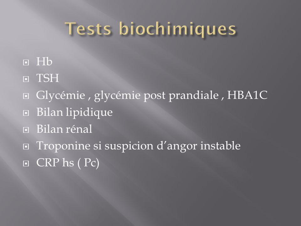 Tests biochimiques Hb TSH Glycémie , glycémie post prandiale , HBA1C