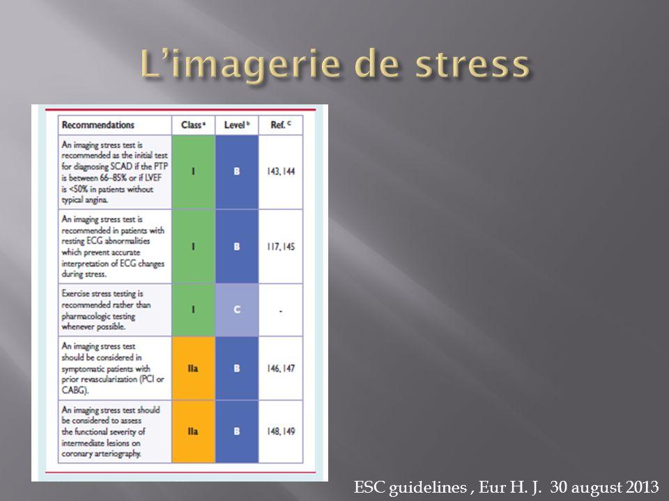 L'imagerie de stress ESC guidelines , Eur H. J. 30 august 2013