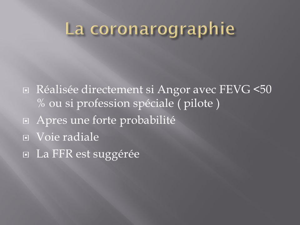 La coronarographie Réalisée directement si Angor avec FEVG <50 % ou si profession spéciale ( pilote )