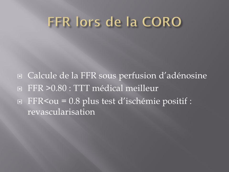 FFR lors de la CORO Calcule de la FFR sous perfusion d'adénosine