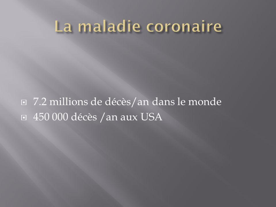 La maladie coronaire 7.2 millions de décès/an dans le monde