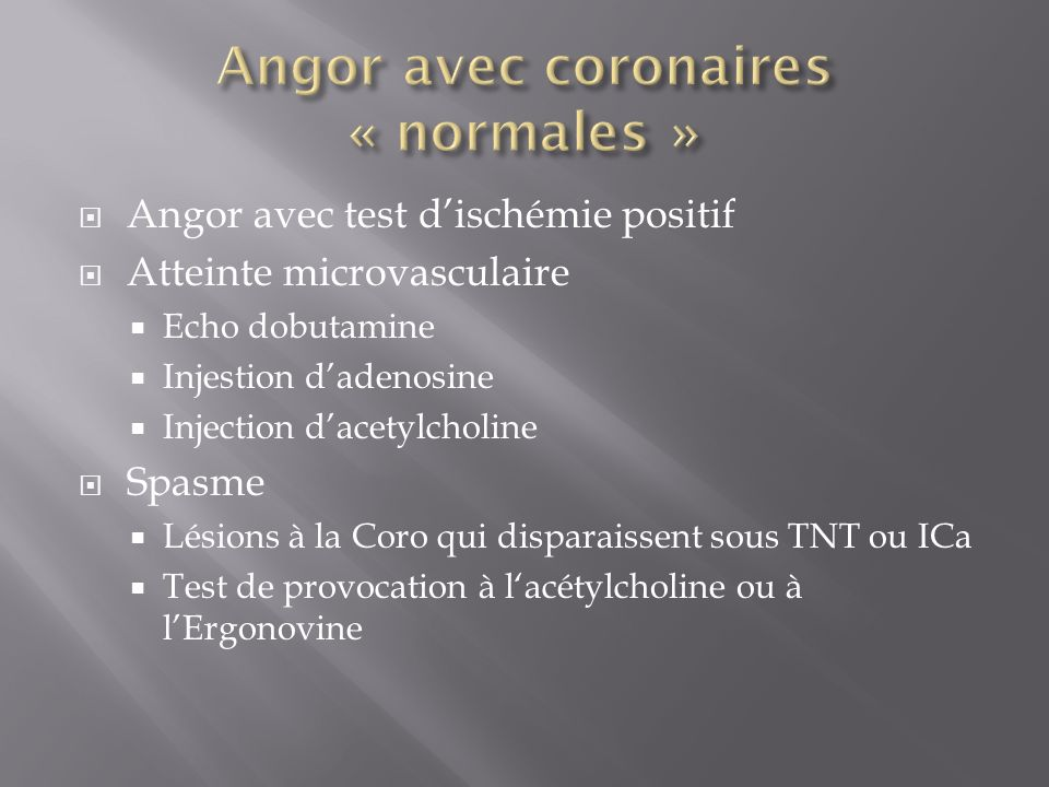 Angor avec coronaires « normales »