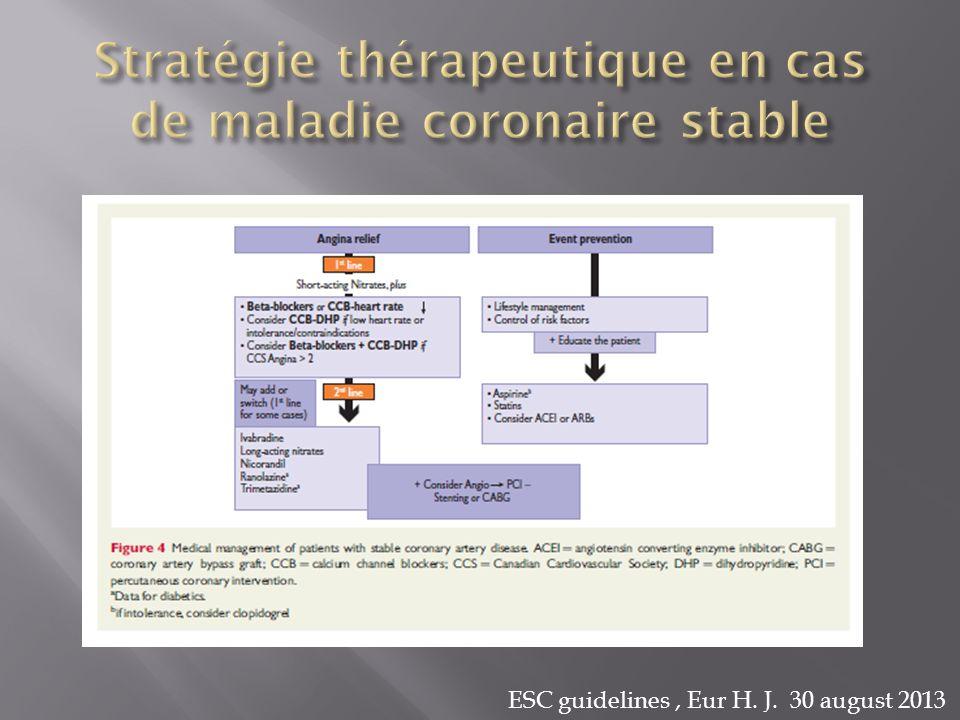 Stratégie thérapeutique en cas de maladie coronaire stable