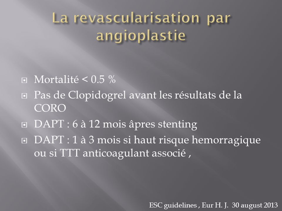 La revascularisation par angioplastie