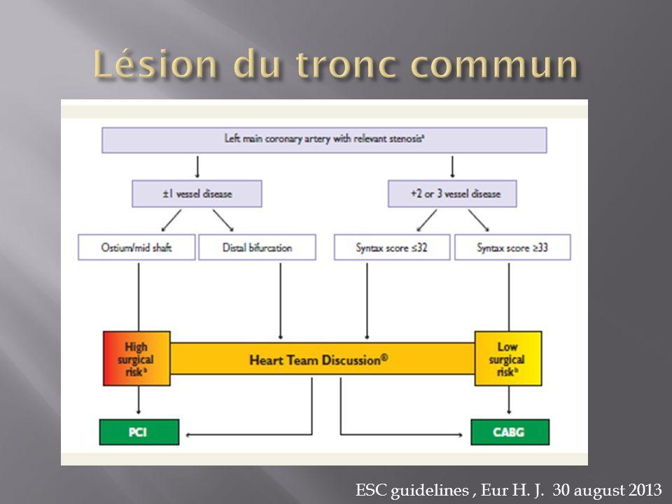 Lésion du tronc commun ESC guidelines , Eur H. J. 30 august 2013