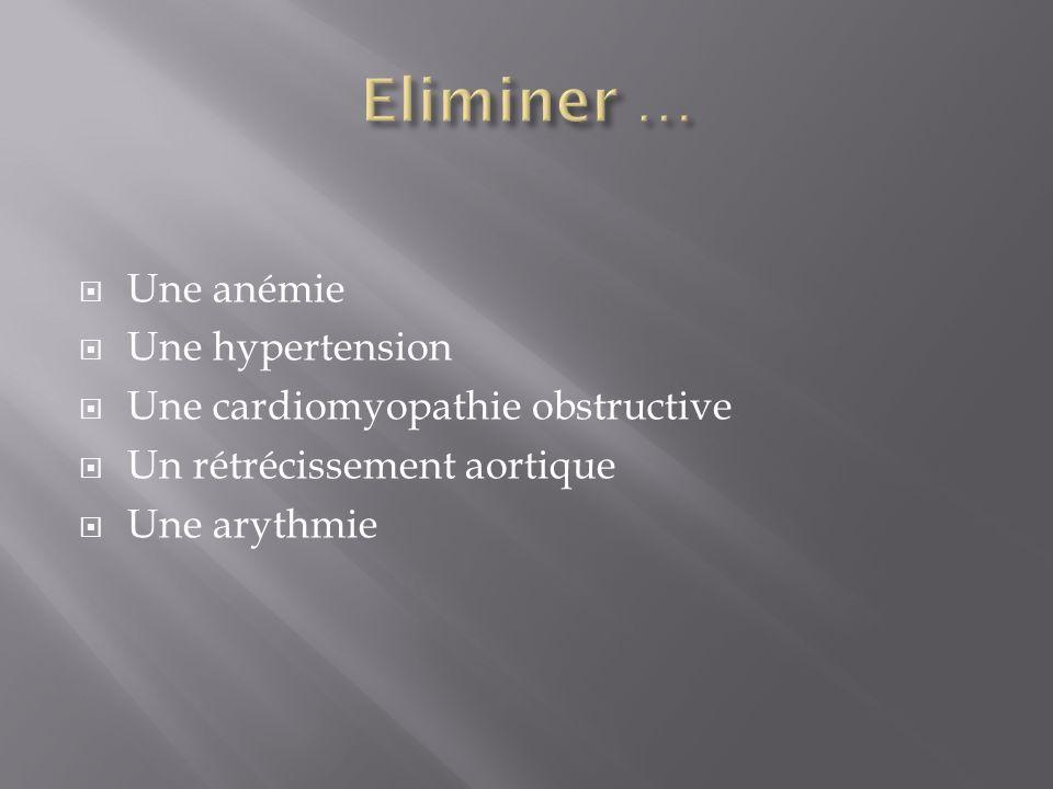 Eliminer … Une anémie Une hypertension Une cardiomyopathie obstructive