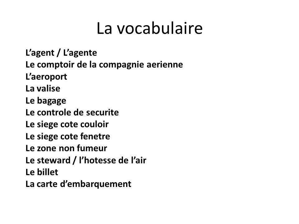 La vocabulaire L'agent / L'agente Le comptoir de la compagnie aerienne