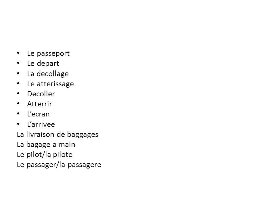 Le passeport Le depart. La decollage. Le atterissage. Decoller. Atterrir. L'ecran. L'arrivee.