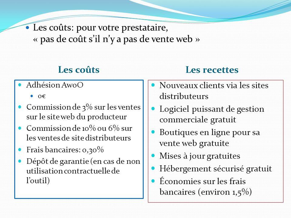 Les coûts: pour votre prestataire, « pas de coût s'il n'y a pas de vente web »