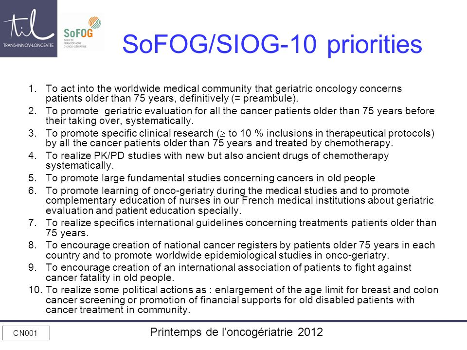 SoFOG/SIOG-10 priorities