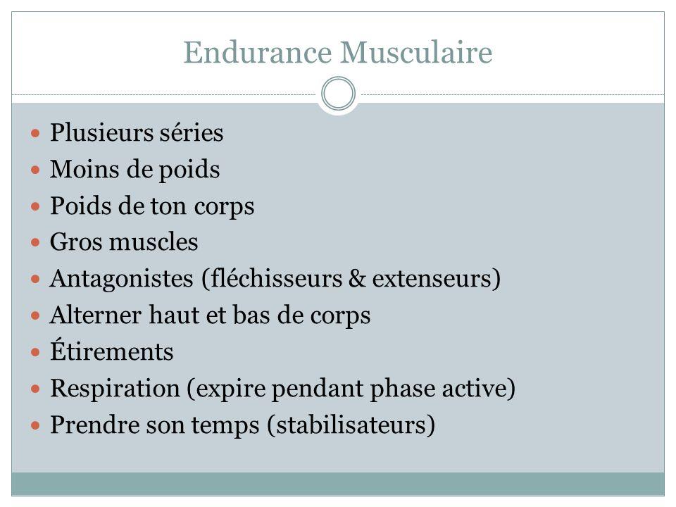 Endurance Musculaire Plusieurs séries Moins de poids