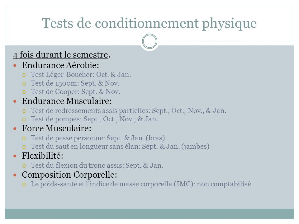 Tests de conditionnement physique