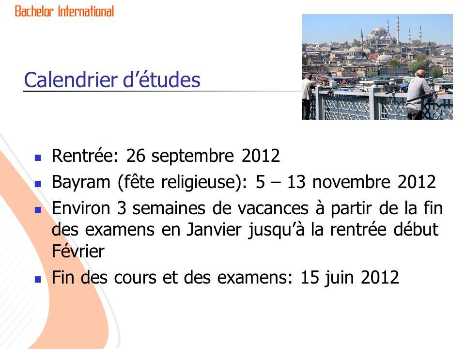 Calendrier d'études Rentrée: 26 septembre 2012
