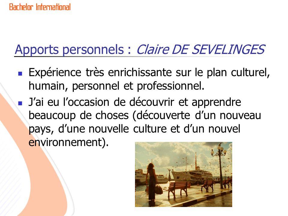 Apports personnels : Claire DE SEVELINGES