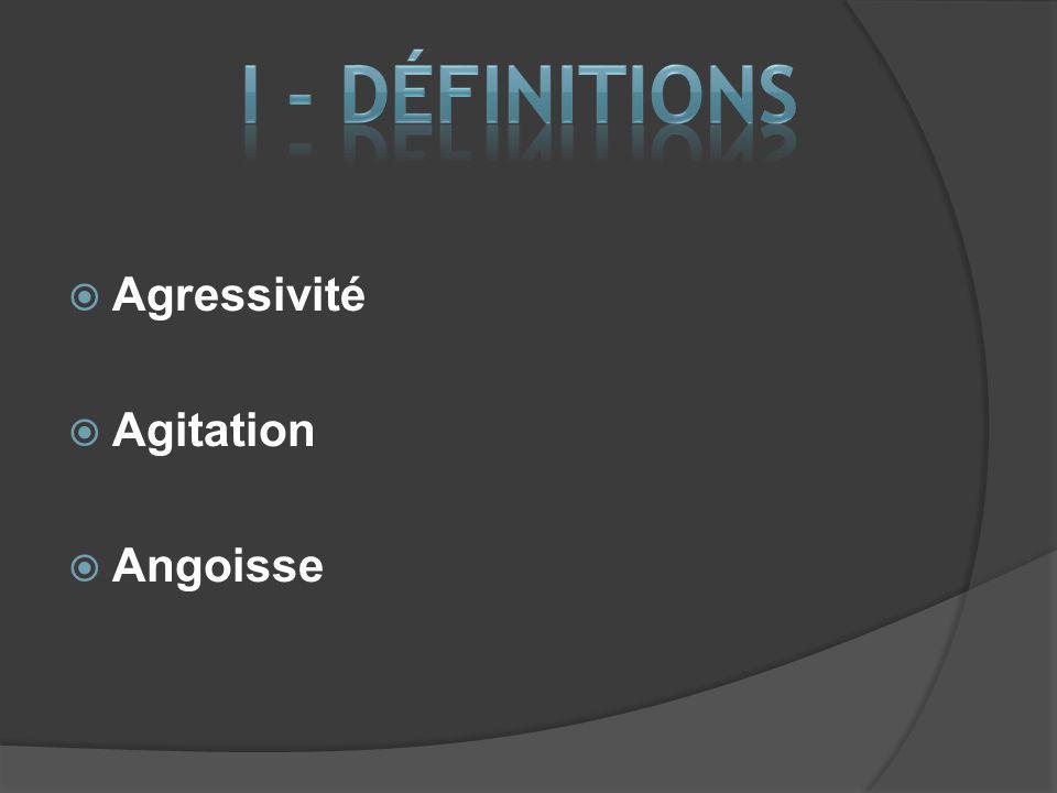 I - DÉFINITIONS Agressivité Agitation Angoisse