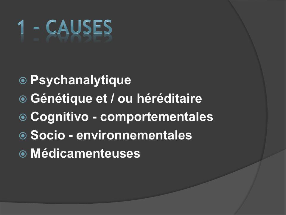 1 - CAUSES Psychanalytique Génétique et / ou héréditaire