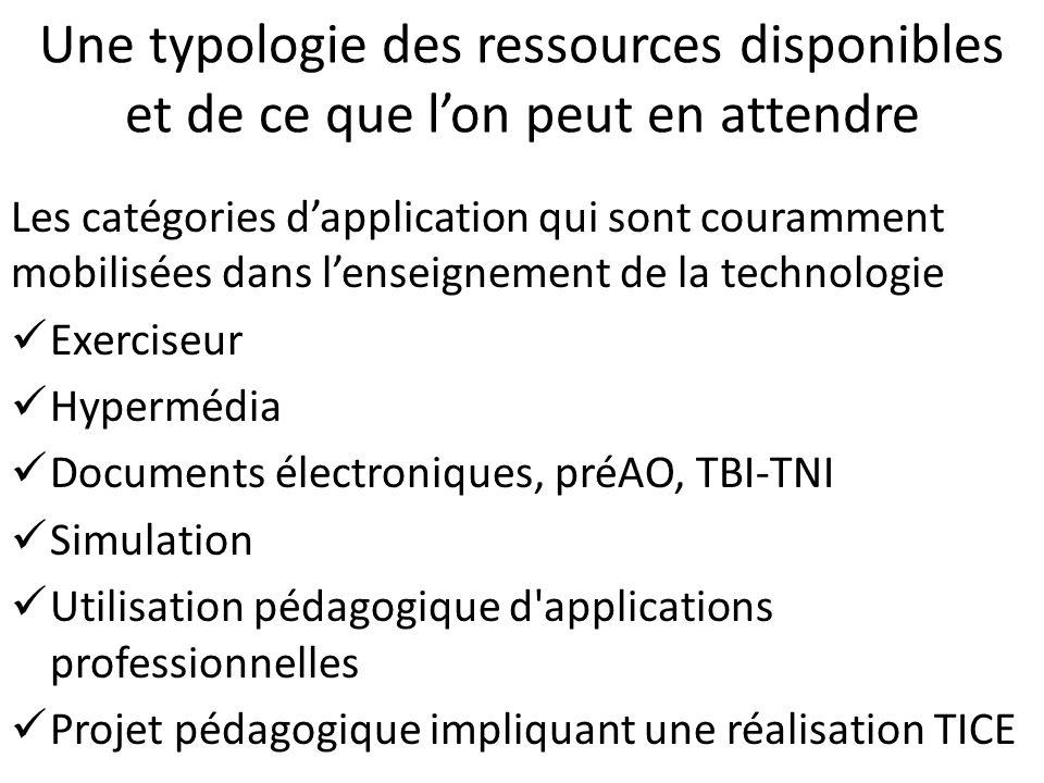 Une typologie des ressources disponibles et de ce que l'on peut en attendre