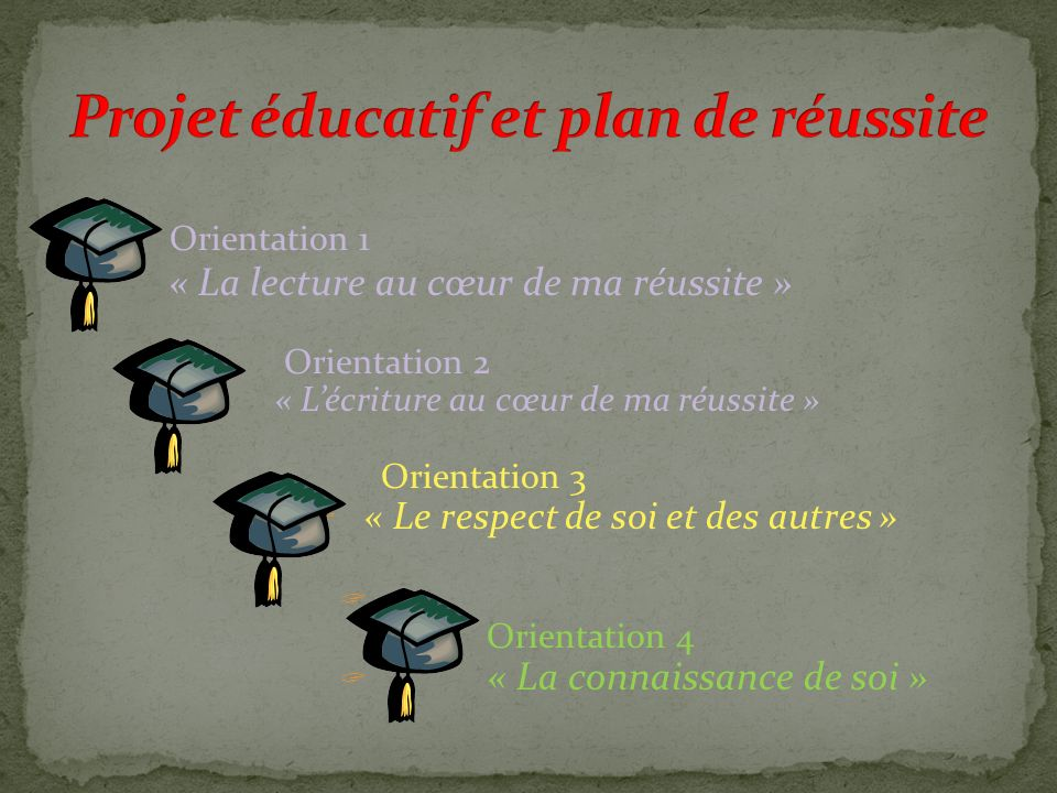 Projet éducatif et plan de réussite