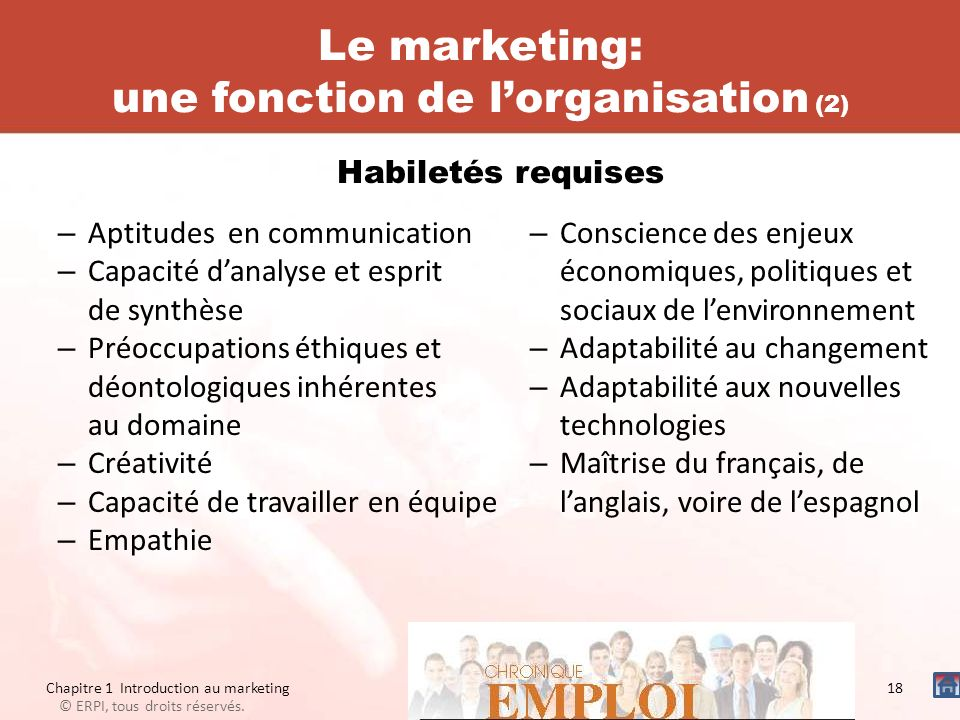 Le marketing: une fonction de l'organisation (2)