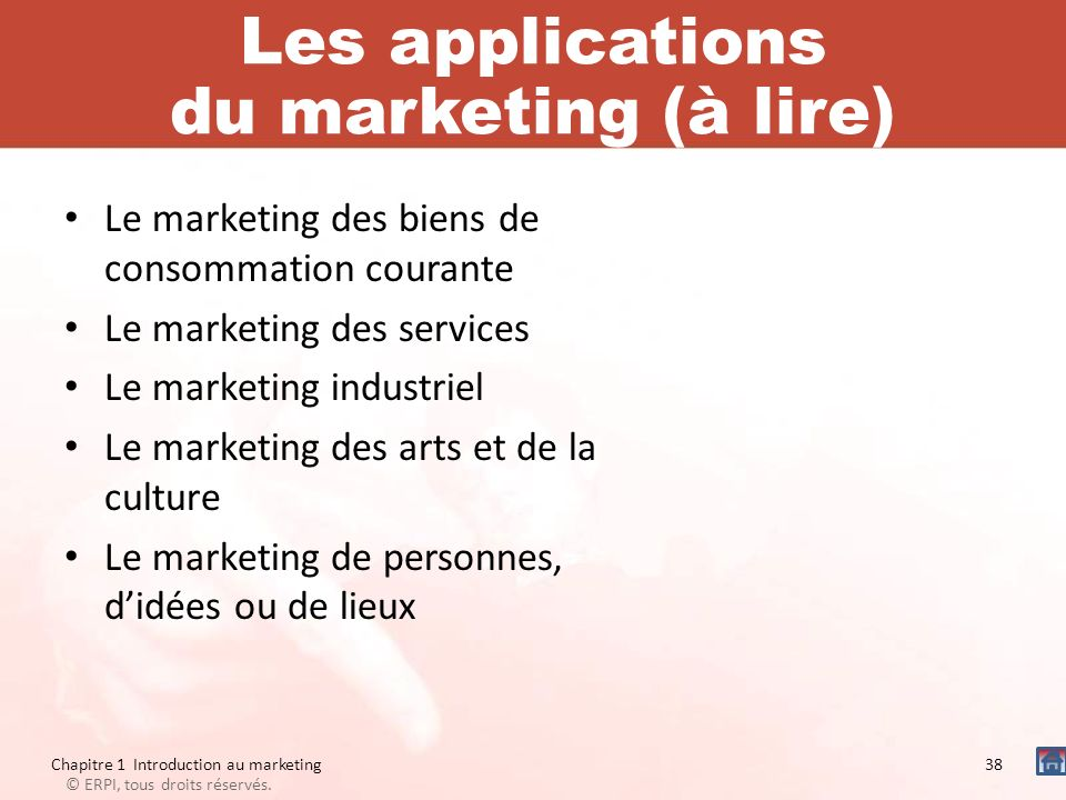 Les applications du marketing (à lire)
