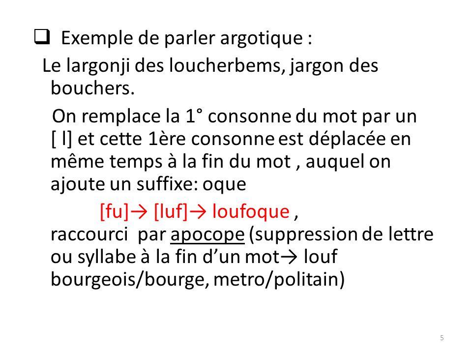Exemple de parler argotique :