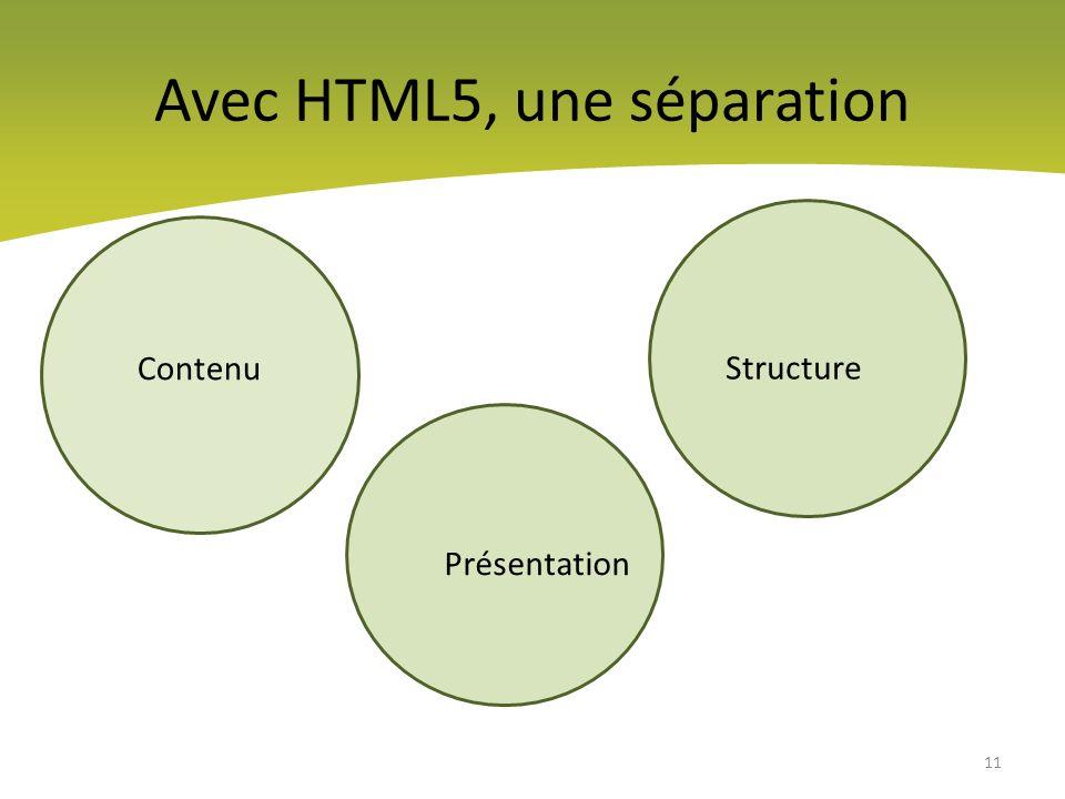 Avec HTML5, une séparation
