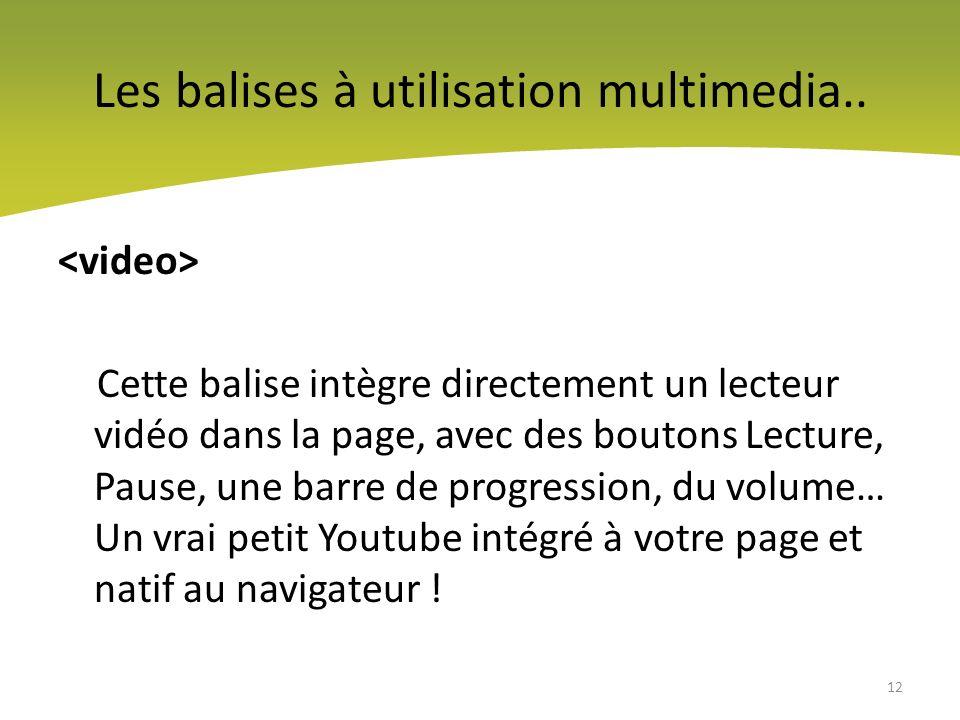 Les balises à utilisation multimedia..