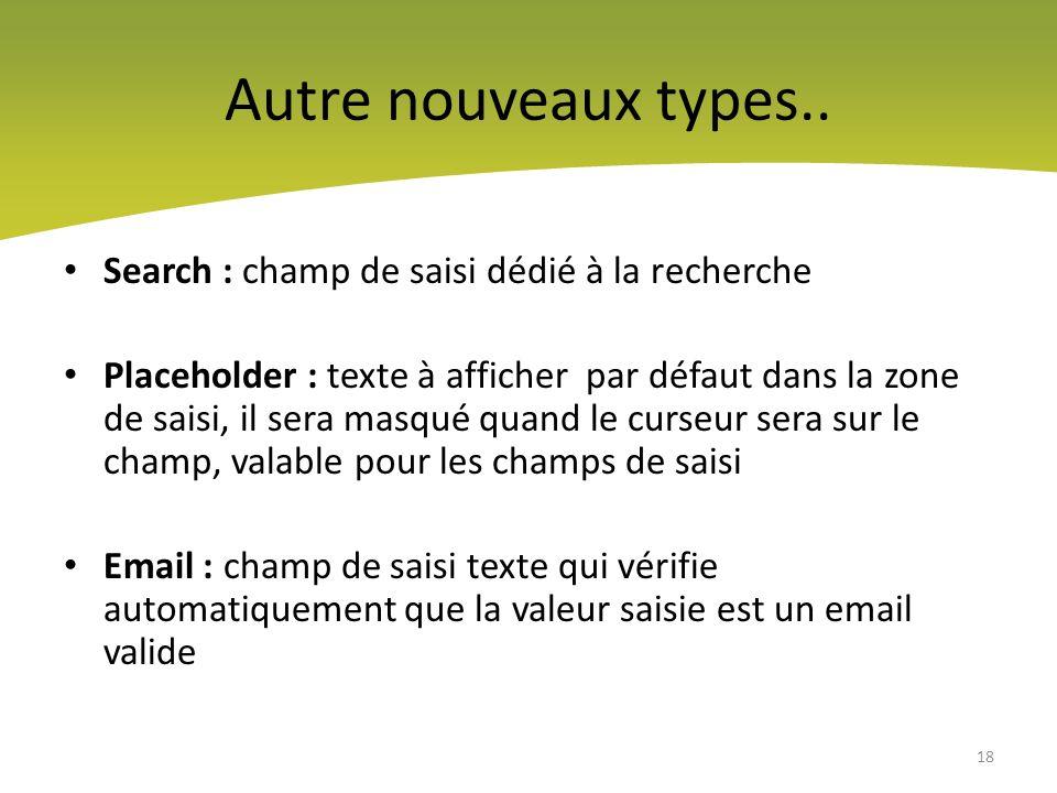 Autre nouveaux types.. Search : champ de saisi dédié à la recherche
