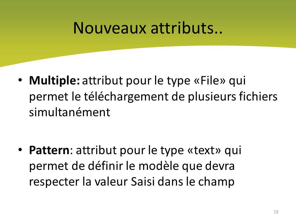 Nouveaux attributs.. Multiple: attribut pour le type «File» qui permet le téléchargement de plusieurs fichiers simultanément.