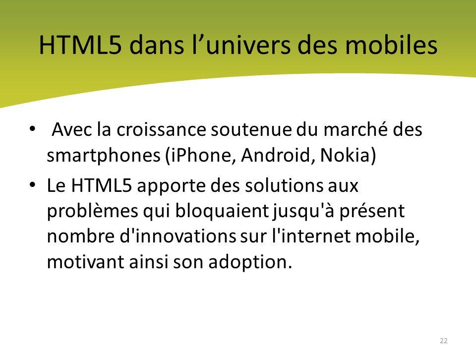 HTML5 dans l'univers des mobiles