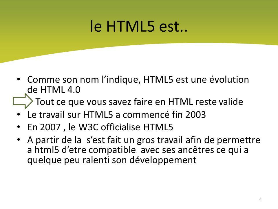 le HTML5 est.. Comme son nom l'indique, HTML5 est une évolution de HTML 4.0. Le travail sur HTML5 a commencé fin 2003.