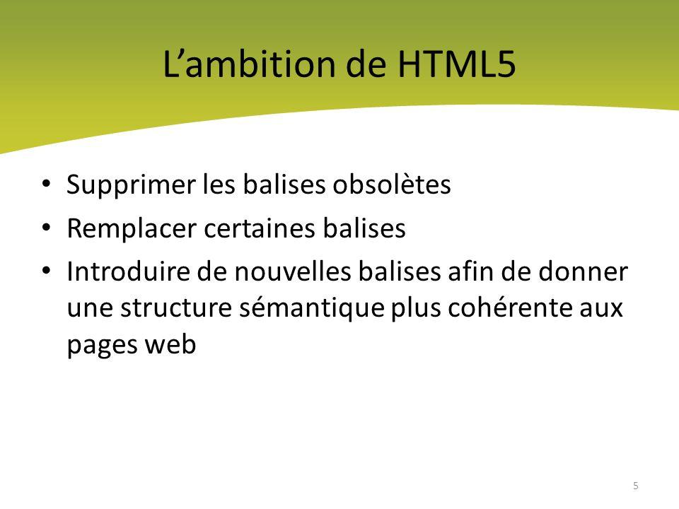 L'ambition de HTML5 Supprimer les balises obsolètes