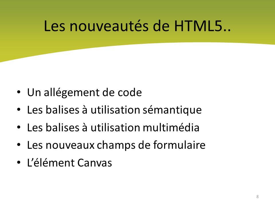 Les nouveautés de HTML5.. Un allégement de code