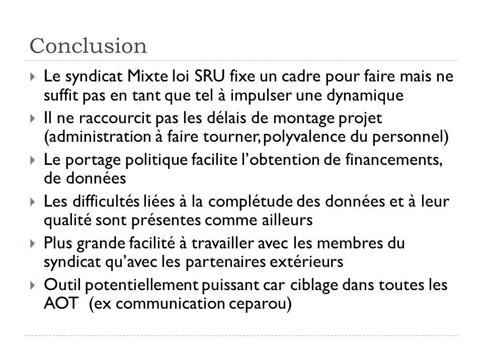 Conclusion Le syndicat Mixte loi SRU fixe un cadre pour faire mais ne suffit pas en tant que tel à impulser une dynamique.