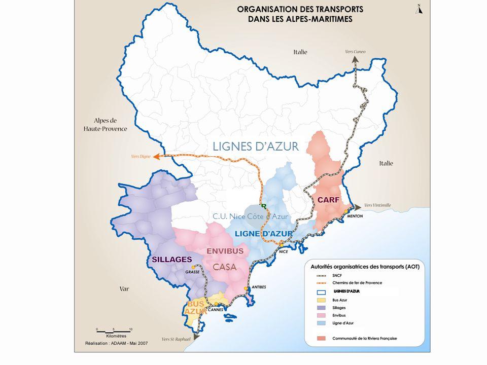 Carte des AOT LIGNES D'AZUR C.U. Nice Côte d'Azur CASA LIGNES D'AZUR