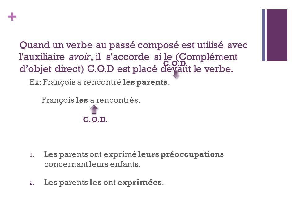 Quand un verbe au passé composé est utilisé avec l auxiliaire avoir, il s accorde si le (Complément d'objet direct) C.O.D est placé devant le verbe.