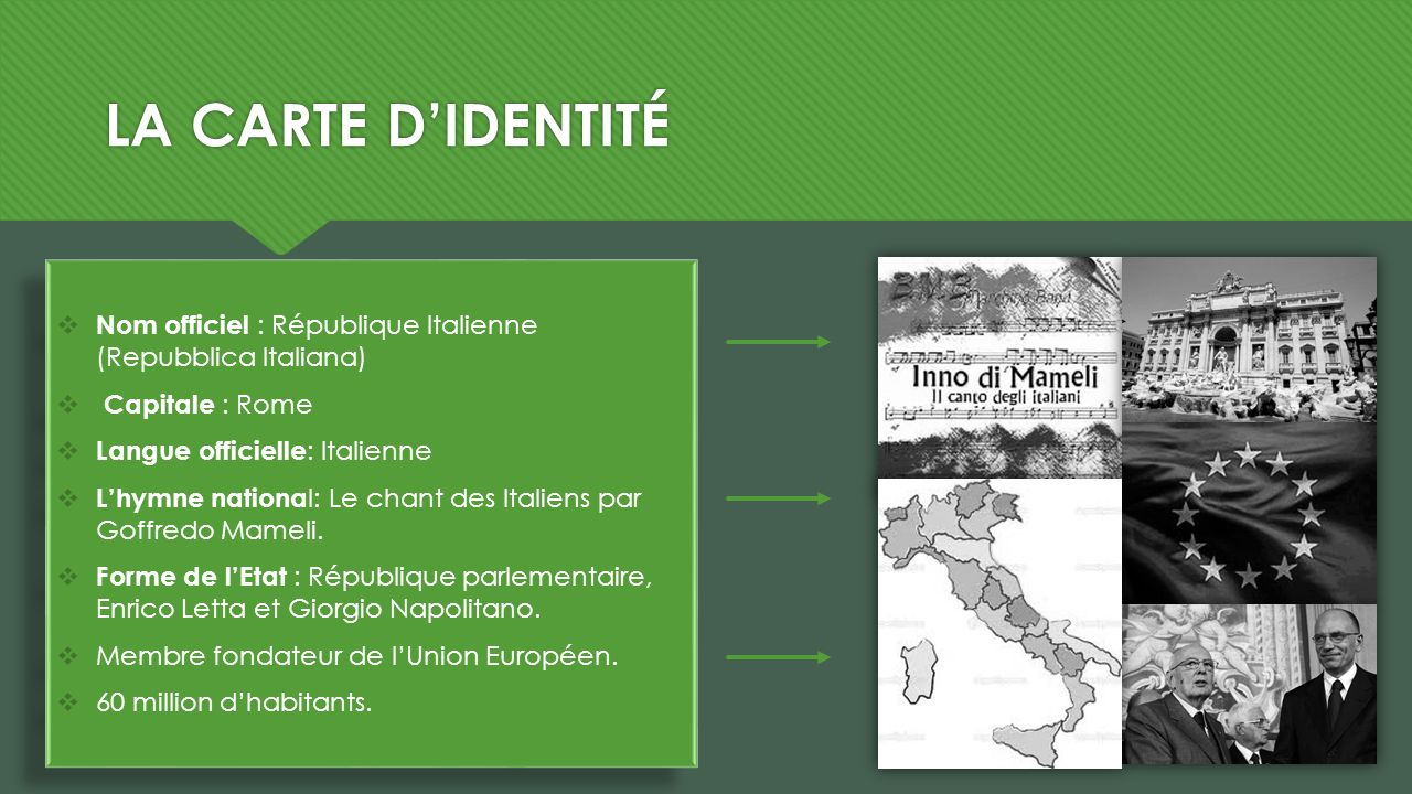 LA CARTE D'IDENTITÉ Nom officiel : République Italienne (Repubblica Italiana) Capitale : Rome. Langue officielle: Italienne.