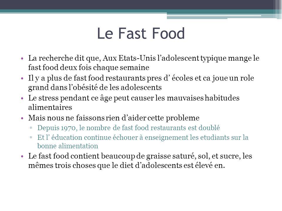 Le Fast Food La recherche dit que, Aux Etats-Unis l'adolescent typique mange le fast food deux fois chaque semaine.