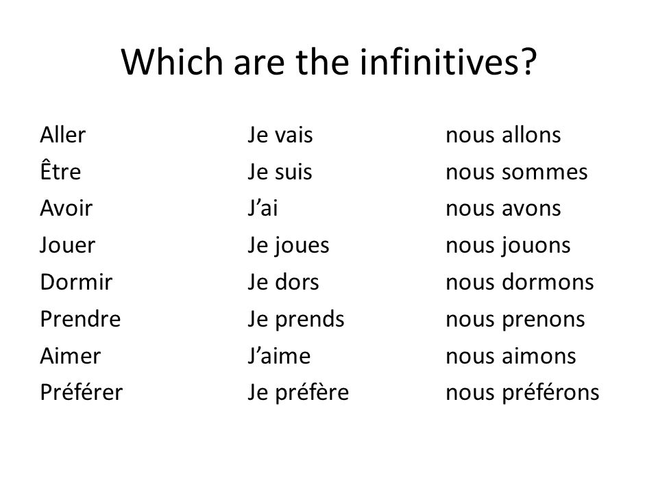 Which are the infinitives